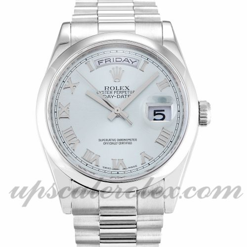 Mens Rolex Day-Date 118206 36 MM Case Automatic Movement Blue Dial