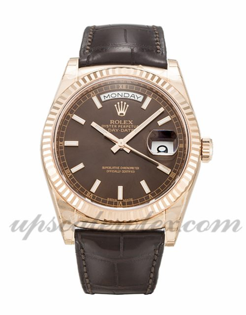 Mens Rolex Day-Date 118135 36 MM Case Automatic Movement Chocolate Dial