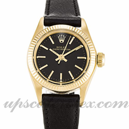 Ladies Rolex Lady Oyster Perpetual 6718 26 MM Case Automatic Movement Black Dial