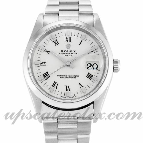 Unisex Rolex Oyster Perpetual Date 15200 34 MM Case Automatic Movement White Dial
