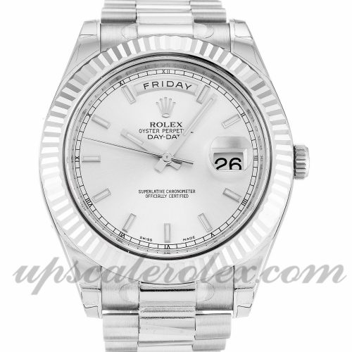 Mens Rolex Day-Date II 218239 41 MM Case Automatic Movement Silver Dial