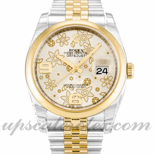 Unisex Rolex Datejust 116203 36 MM Case Automatic Movement Silver Floral Dial