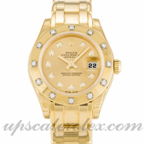 Ladies Rolex Pearlmaster 80318 29 MM Case Automatic Movement Champagne Diamond Dial