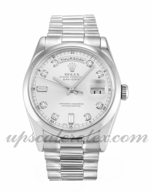 Mens Rolex Day-Date 118209 36 MM Case Automatic Movement Silver Diamond Dial
