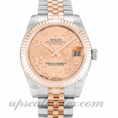 Unisex Rolex Mid-Size Datejust 178271 31 MM Case Automatic Movement Pink Floral Dial