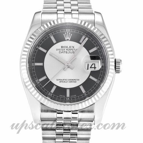 Mens Rolex Datejust 116234 36 MM Case Automatic Movement Black & Silver Dial