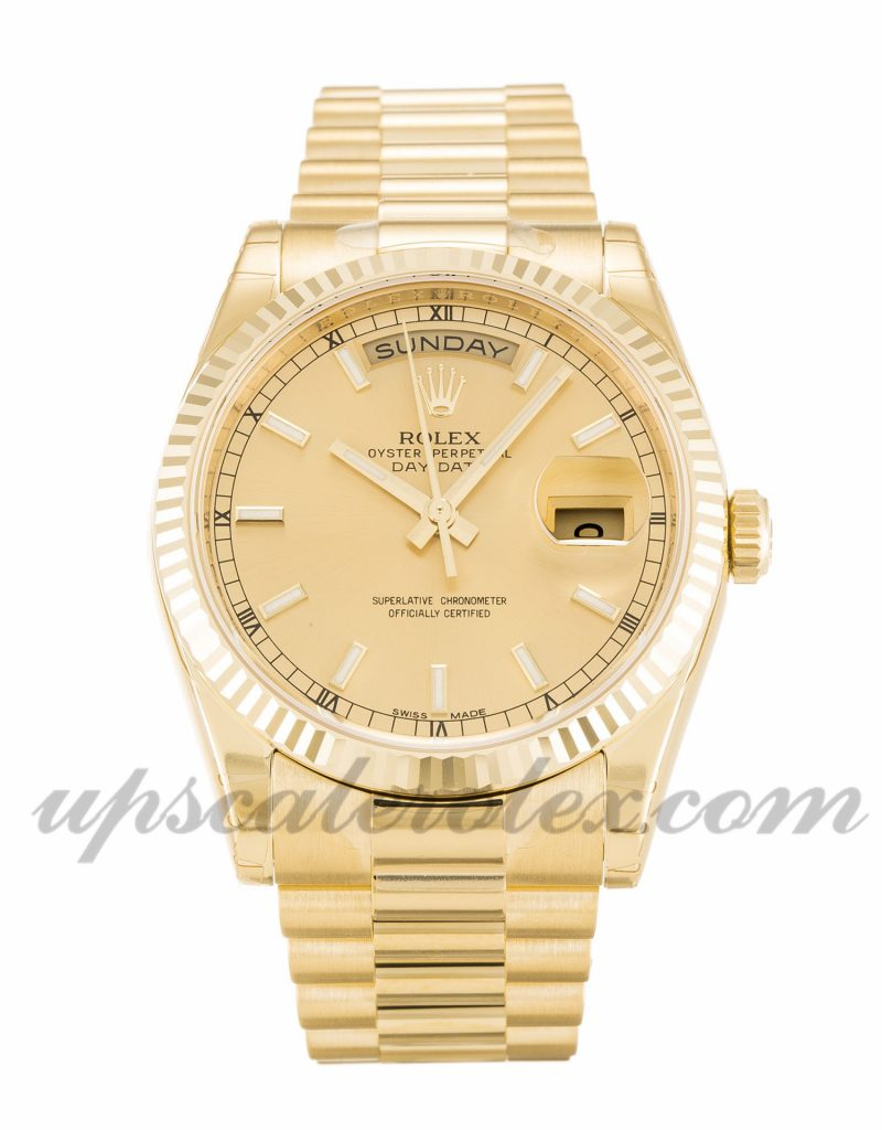 Mens Rolex Day-Date 118238 36 MM Case Automatic Movement Champagne Dial