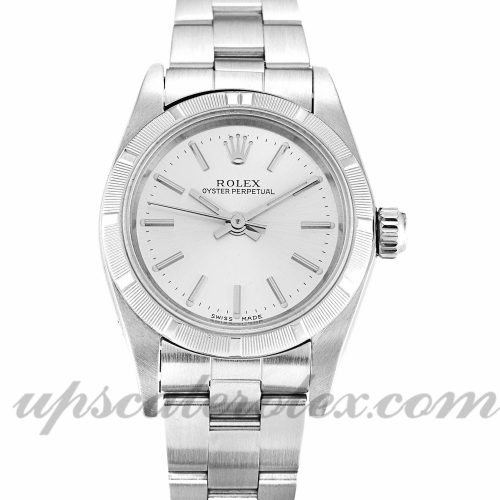 Ladies Rolex Lady Oyster Perpetual 67230 26 MM Case Automatic Movement Silver Dial