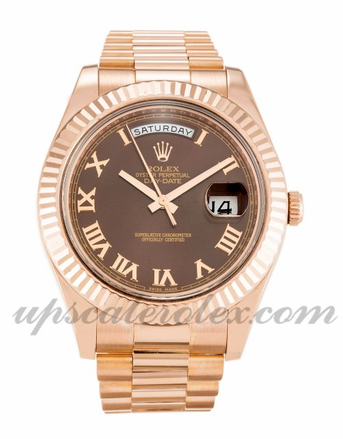 Mens Rolex Day-Date II 218235 41 MM Case Automatic Movement Chocolate Dial