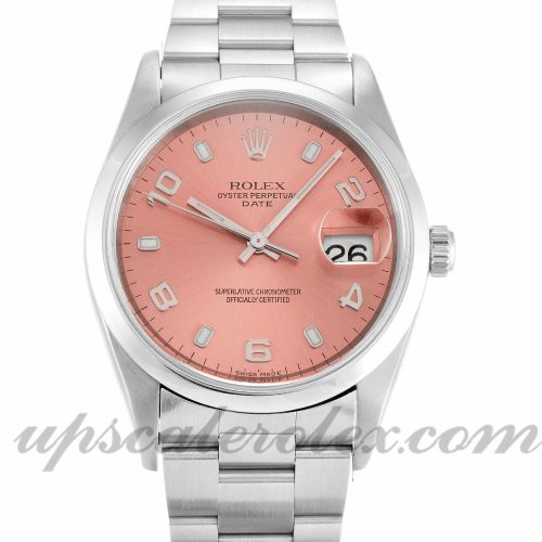 Unisex Rolex Oyster Perpetual Date 15200 34 MM Case Automatic Movement Salmon Dial