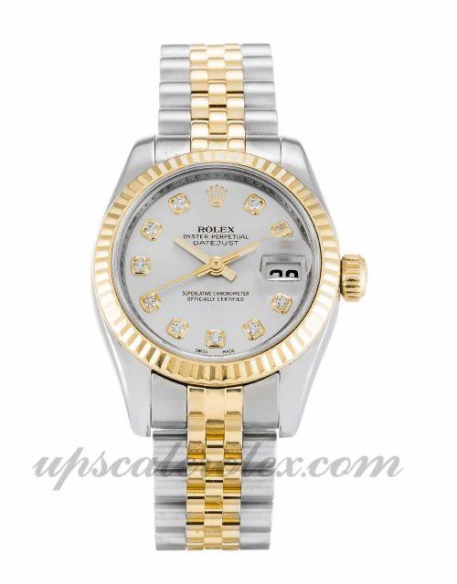 Ladies Rolex Datejust Lady 179173 26 MM Case Automatic Movement Silver Diamond Dial
