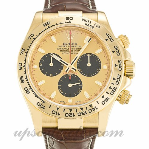 Mens Rolex Daytona 116518 40 MM Case Automatic Movement Gold Dial