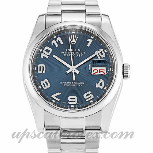 Mens Rolex Datejust 116200 36 MM Case Automatic Movement Blue Concentric Dial