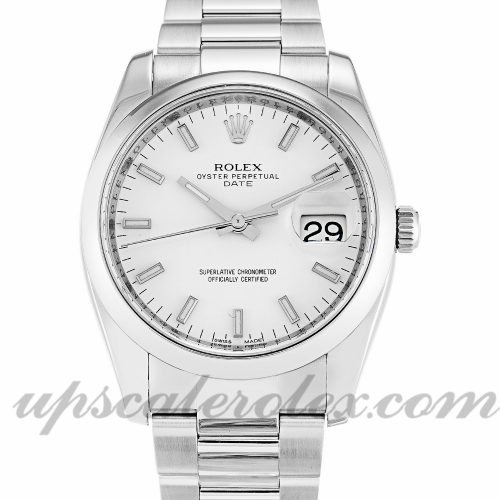 Unisex Rolex Oyster Perpetual Date 115200 34 MM Case Automatic Movement White Dial