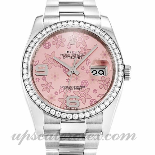 Ladies Rolex Datejust 116244 36 MM Case Automatic Movement Floral Dial