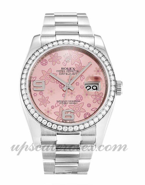 Ladies Rolex Datejust 116244 36 MM Case Automatic Movement Floral Dial
