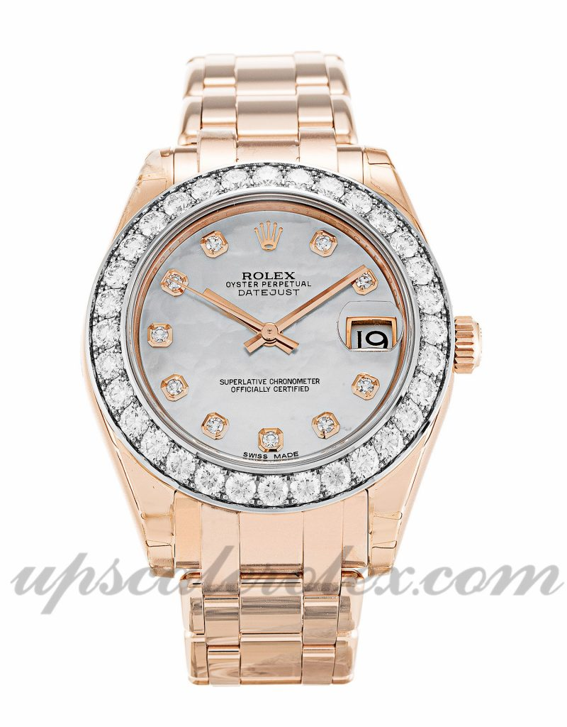 Ladies Rolex Pearlmaster 81285 34 MM Case Automatic Movement Mother of Pearl - White Diamond Dial