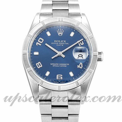 Unisex Rolex Oyster Perpetual Date 15210 34 MM Case Automatic Movement Blue Dial