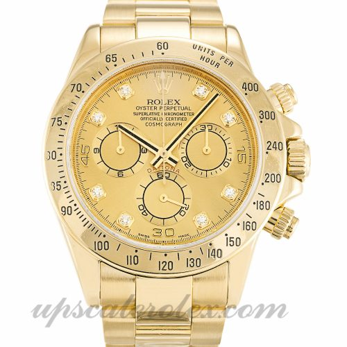 Mens Rolex Daytona 116528 40 MM Case Automatic Movement Champagne Diamond Dial
