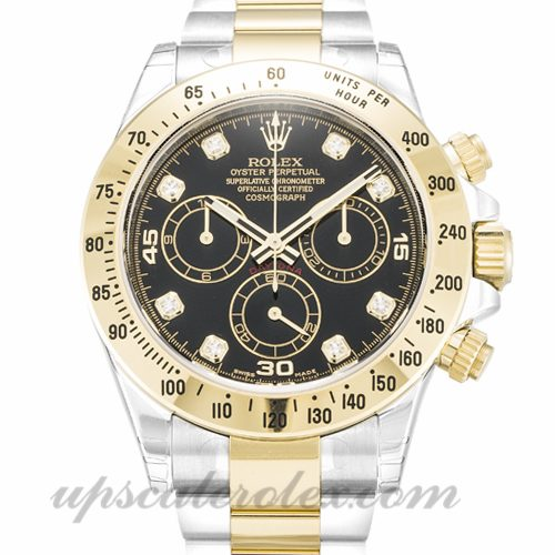 Mens Rolex Daytona 116523 40 MM Case Automatic Movement Black Diamond Dial