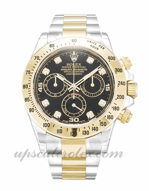 Mens Rolex Daytona 116523 40 MM Case Automatic Movement Black Diamond Dial