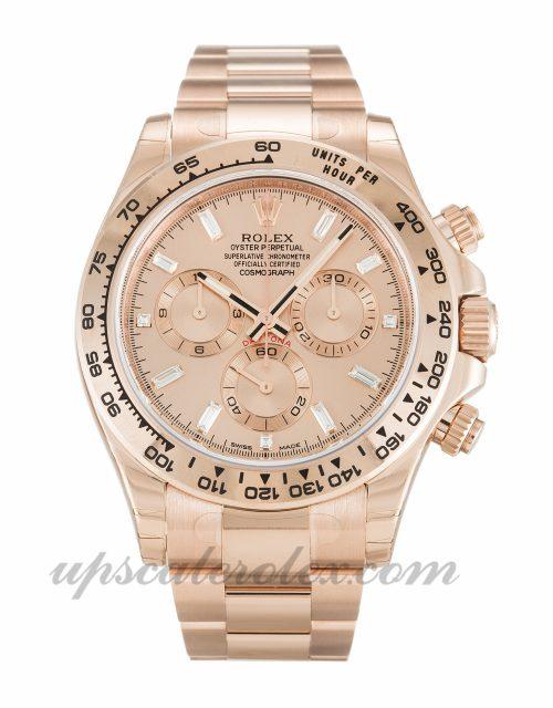 Mens Rolex Daytona 116505 40 MM Case Automatic Movement Rose Diamond Baguette Dial