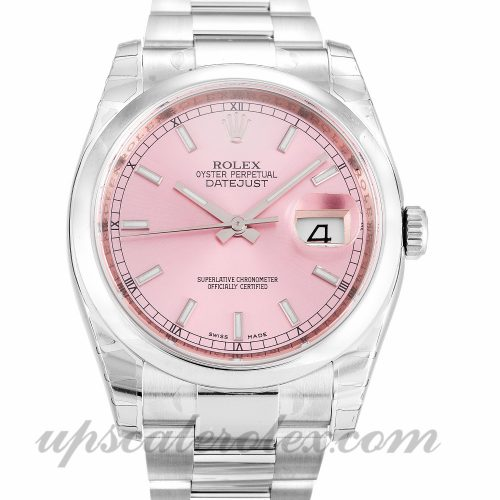 Mens Rolex Datejust 116200 36 MM Case Automatic Movement Pink Dial