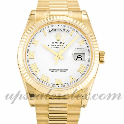 Mens Rolex Day-Date 118238 36 MM Case Automatic Movement White Dial