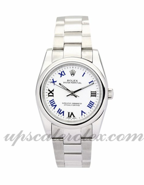 Ladies Rolex Lady Oyster Perpetual 177200 31 MM Case Automatic Movement Blue and white Dial