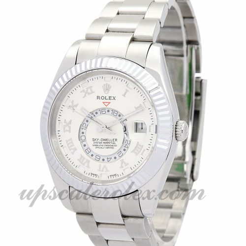 Mens Rolex Sky-Dweller 326938 42 MM Case Automatic Movement White Dial