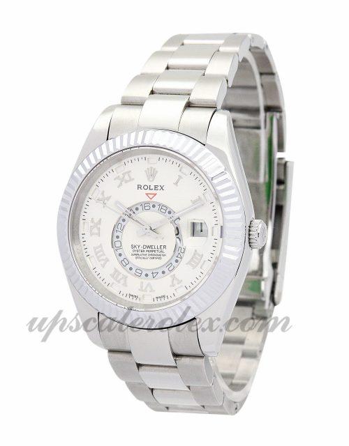 Mens Rolex Sky-Dweller 326938 42 MM Case Automatic Movement White Dial