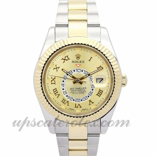 Mens Rolex Sky-Dweller 326938 42 MM Case Automatic Movement Gold Dial