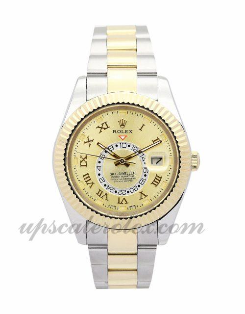 Mens Rolex Sky-Dweller 326938 42 MM Case Automatic Movement Gold Dial