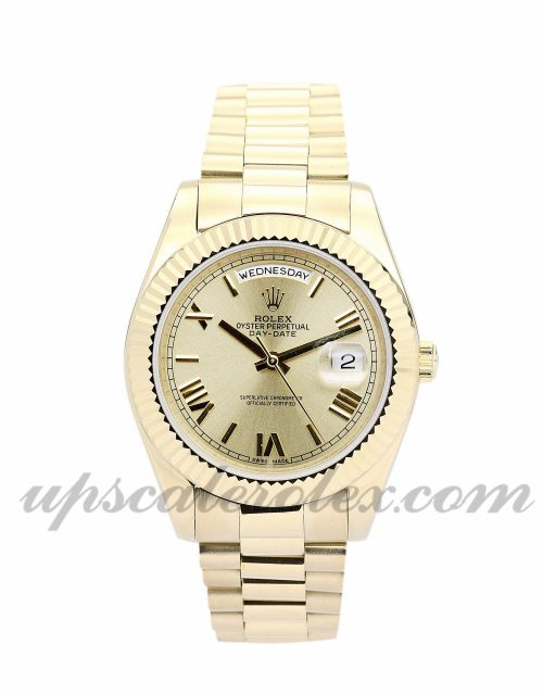 Mens Rolex Day-Date II 218238 41 MM Case Automatic Movement Gold Dial