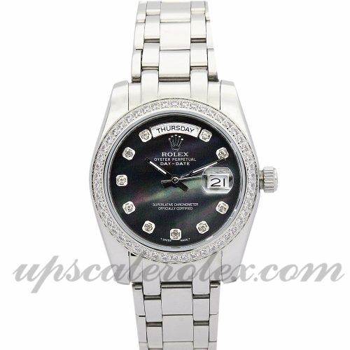 Mens Rolex Day-Date 118346 36 MM Case Automatic Movement Black Dial