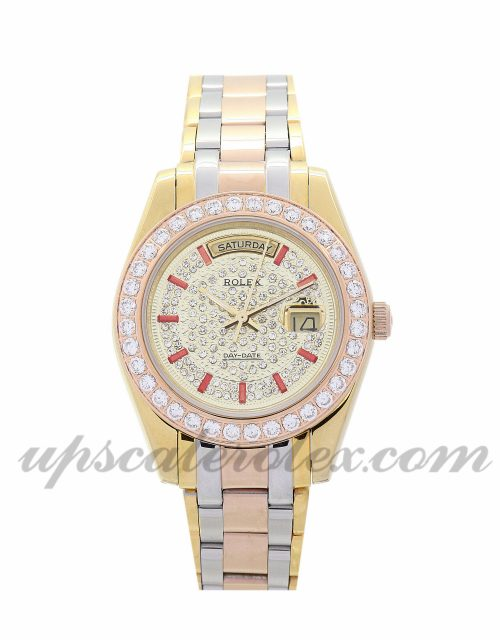 Lady Rolex Day-Date 118346 36 MM Case Automatic Movement Yellow gold with Diamonds Dial