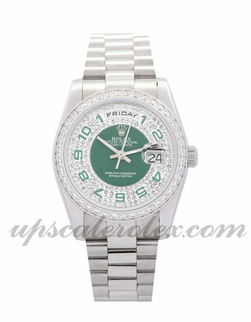 Lady Rolex Day-Date 118346 36 MM Case Automatic Movement Green and Silver with Diamonds DialLady Rolex Day-Date 118346 36 MM Case Automatic Movement Green and Silver with Diamonds Dial