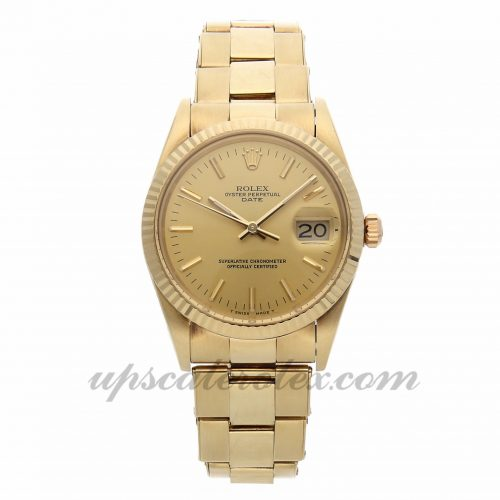 Mens Rolex Oyster Perpetual Date 15037 34mm Case Mechanical (Automatic) Movement Champagne Dial