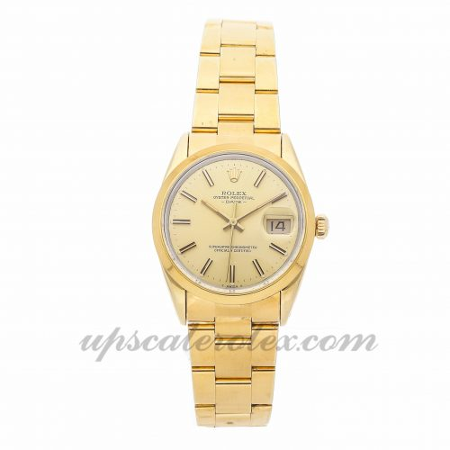 Mens Rolex Oyster Perpetual Date 15505 34mm Case Mechanical (Automatic) Movement Champagne Dial