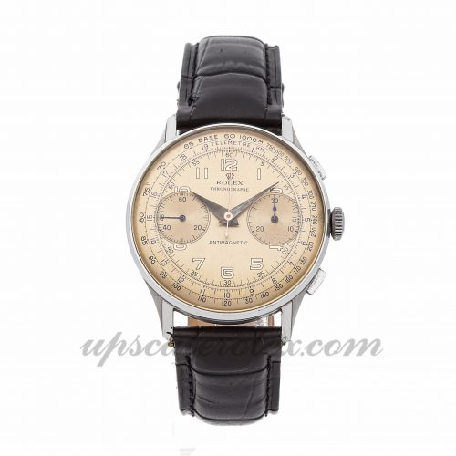 Mens Rolex Vintage Chronograph 3834 38mm Case Mechanical (Hand-winding) Movement Patina Dial