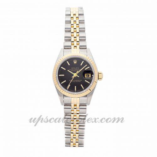 Ladies Rolex Datejust 69173 26mm Case Mechanical (Automatic) Movement Black Dial