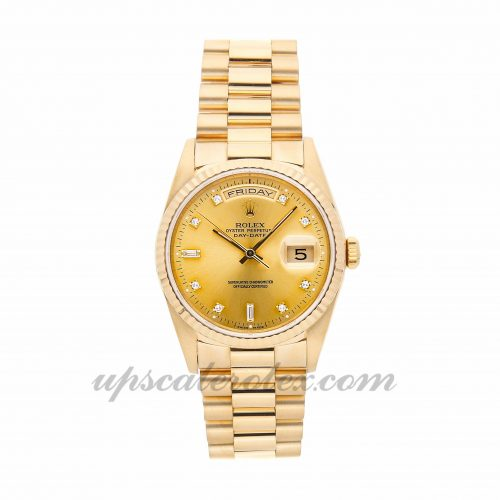 Mens Rolex Day-date 18238 36mm Case Mechanical (Automatic) Movement Champagne Dial