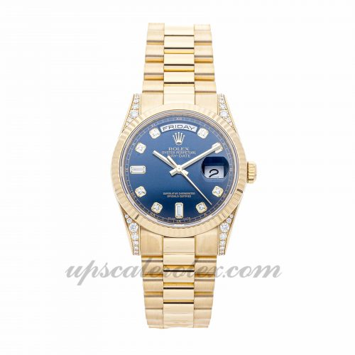 Mens Rolex Day-date 118338 36mm Case Mechanical (Automatic) Movement Blue Dial