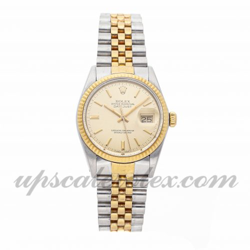Mens Rolex Datejust 16013 36mm Case Mechanical (Automatic) Movement Champagne Dial