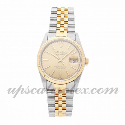 Mens Rolex Datejust 16233 36mm Case Mechanical (Automatic) Movement Champagne Dial