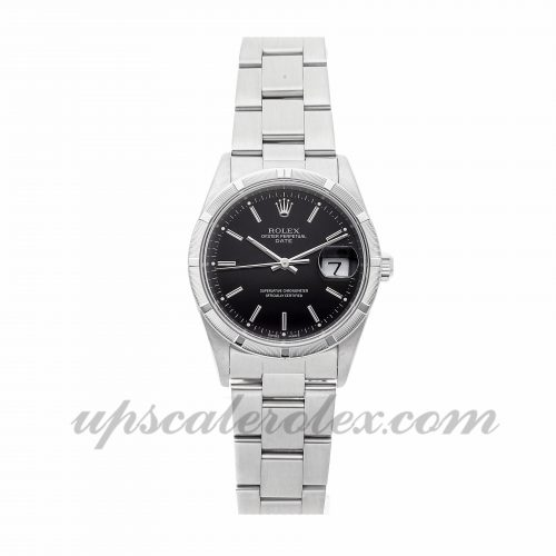 Mens Rolex Date 15210 34mm Case Mechanical (Automatic) Movement Black Dial