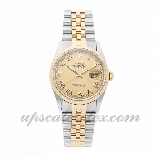 Mens Rolex Datejust 16233 36mm Case Champagne Dial