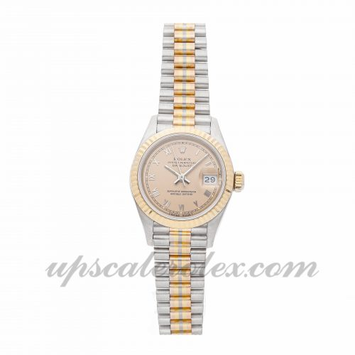 Ladies Rolex Datejust Tridor 69179 26mm Case Mechanical (Automatic) Movement Pink Dial