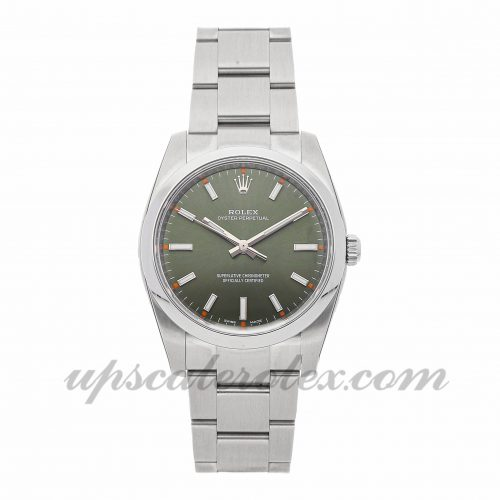 Mens Rolex Oyster Perpetual 114200 34mm Case Mechanical (Automatic) Movement Green Dial