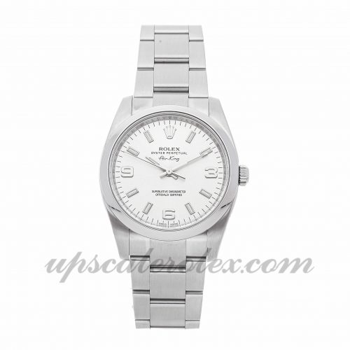 Ladies Rolex Air-king 114200 34mm Case Mechanical (Automatic) Movement Silver Dial